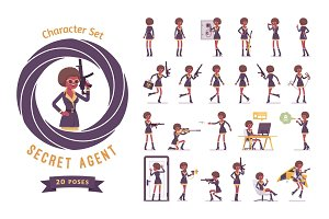 Secret agent black woman, lady spy ready-to-use character set
