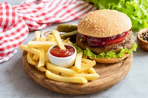 Tasty beef burger and fries