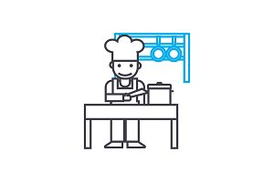 Kitchen staff linear icon concept. Kitchen staff line vector sign, symbol, illustration.