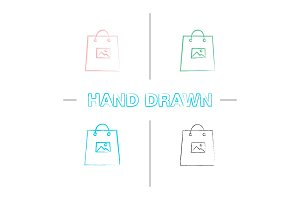 Printing on shopping bags hand drawn icons set