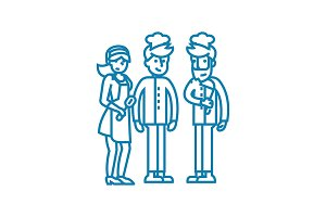 Kitchen workers linear icon concept. Kitchen workers line vector sign, symbol, illustration.