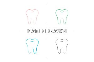 Healthy tooth hand drawn icons set