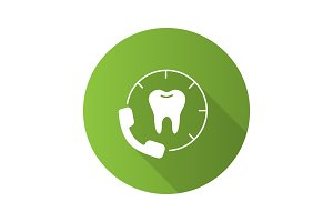 Calling to dental clinic flat design long shadow glyph icon