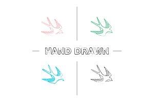 Swallow bird hand drawn icons set