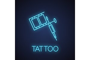Tattoo machine neon light icon