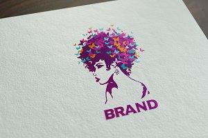 Butterfly Girl Logo Vector & Mock-Up