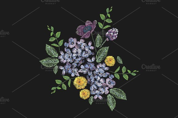 Embroidered Floral Composition