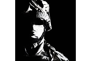 Close up portrait of modern hybrid war combatant