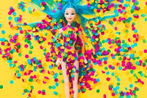 Beautiful doll in confetti