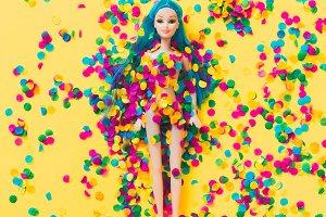 Doll in confetti