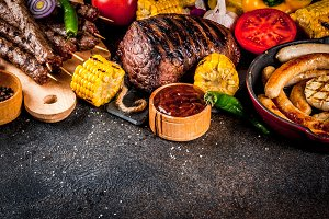Various barbecue grill food