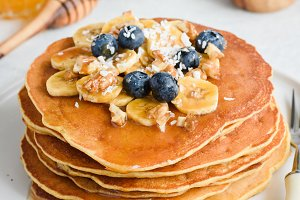 Stack of tasty pancakes