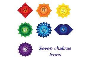 Seven chakras vector icons