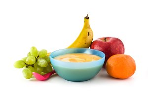 Bowl with fruit puree