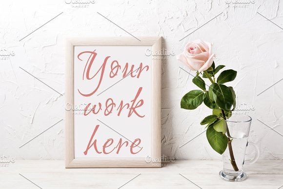 Wooden frame mockup with pink rose in Print Mockups - product preview 1