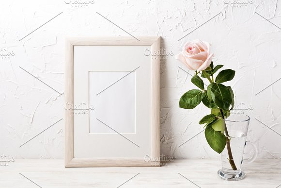 Wooden frame mockup with pink rose in Print Mockups - product preview 2