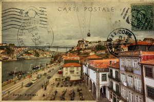 old retro postcard of Porto