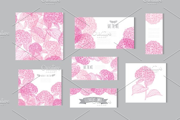 Pink Hydrangea Floral Cards