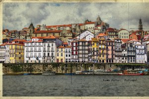 retro postcard of Porto