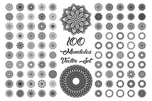 100 Mandalas Vector Set