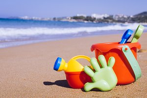 Children's beach toys on the sand