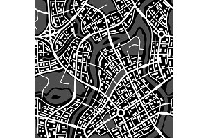 Abstract city map seamless pattern.