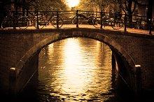 Romantic bridge over canal, Holland