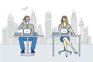 Man and Woman Working in a Office