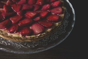 Strawberry pie on a glass plate