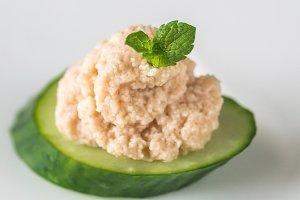 Cucumber caviar canape