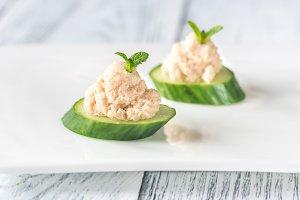 Cucumber caviar canapeS