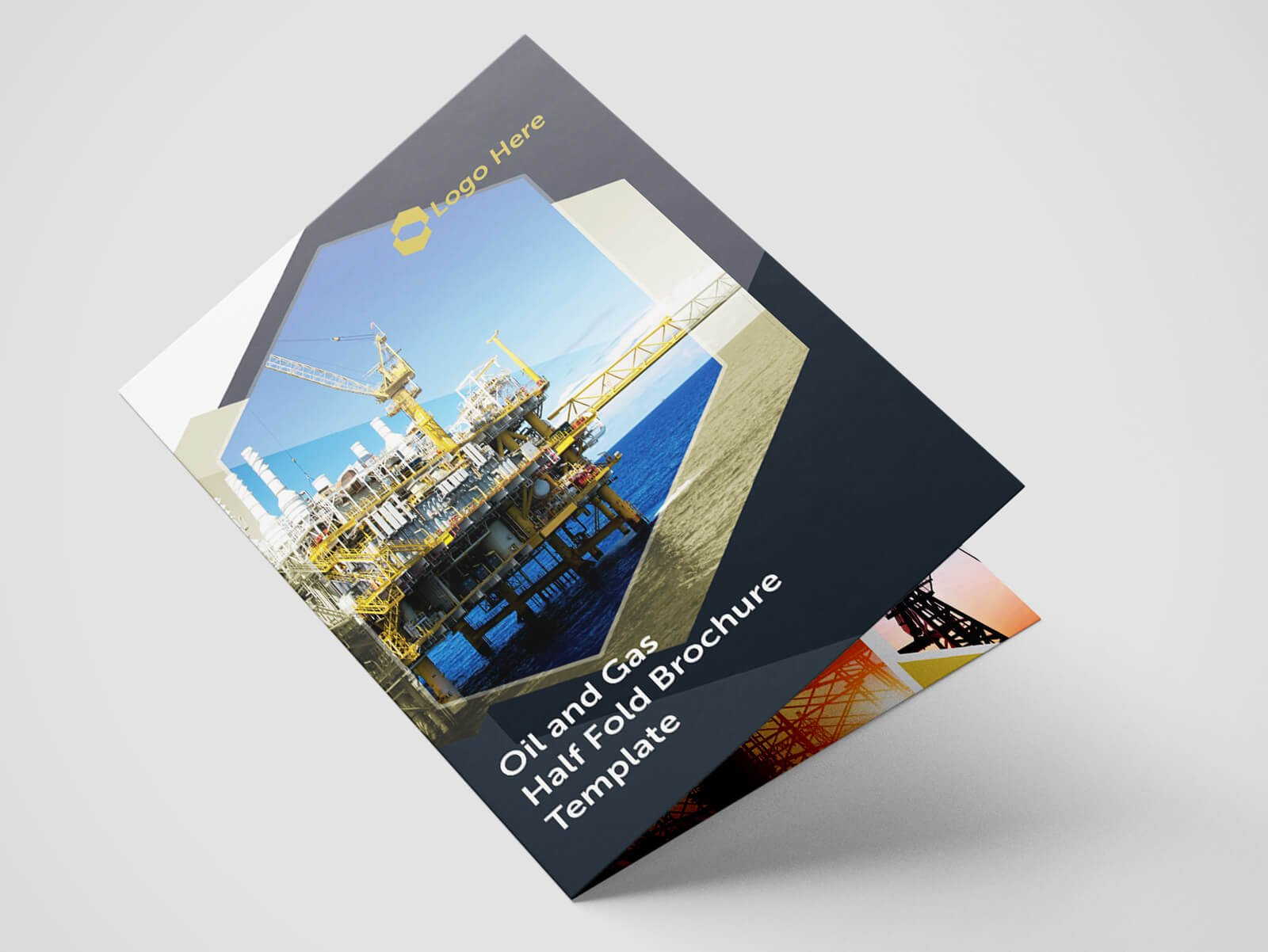 half fold oil gas brochure template flyer templates creative market