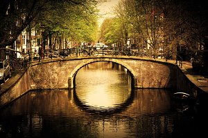 Romantic bridge over canal, Holland