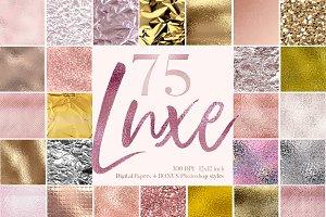 75 Pink & Gold Luxe Textures bundle