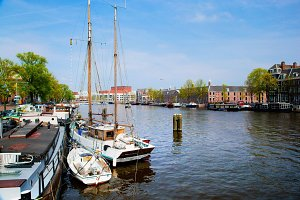 Amsterdam - old town canal, boats