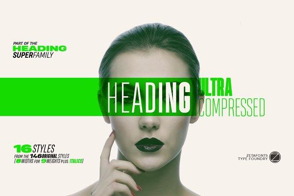 Fonts: Zetafonts - Heading Pro Ultra Compressed 70%off!
