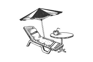 Beach objects engraving vector illustration
