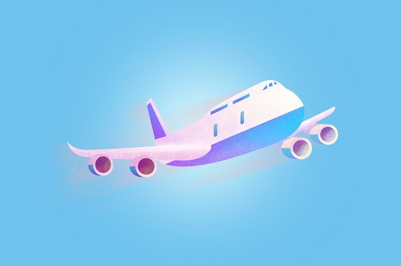 Air plane grained vecto illustration in Illustrations