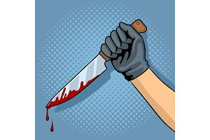 Bloody knife in hand pop art vector illustration