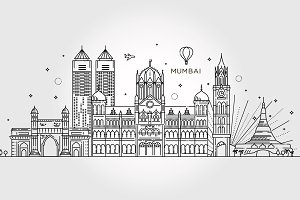 Mumbai detailed skyline