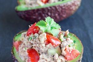 Salad with tuna, avocado, tomato
