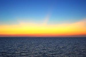 Beautiful sunset on Crimea seashore