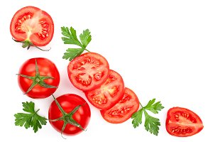tomatoes with parsley leaves with copy space for your text isolated on white background. Top view. Flat lay