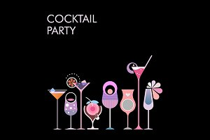 Cocktail Party vector banner design