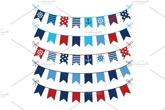 Red Blue Nautical Bunting Clipart Illustrations Creative Market