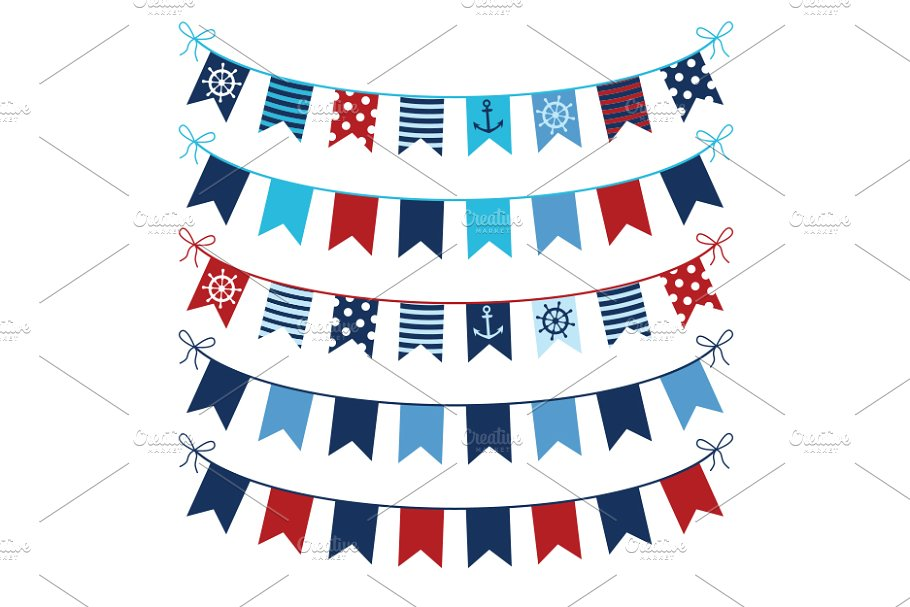 Red blue nautical bunting clipart