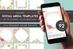 Floral social media templates