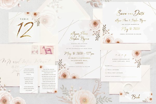 Invitation Templates: LW Brand Styling - Whimsical Wedding Invitation Suite