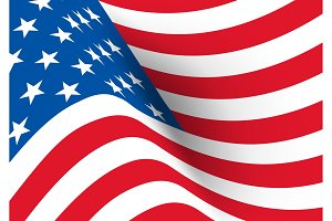 USA flag. Vector realistic wavy flag of United States of America