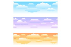 Clouds horizontal seamless patterns
